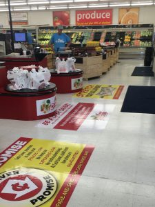 custom commercial grocery store signage floor vinyl